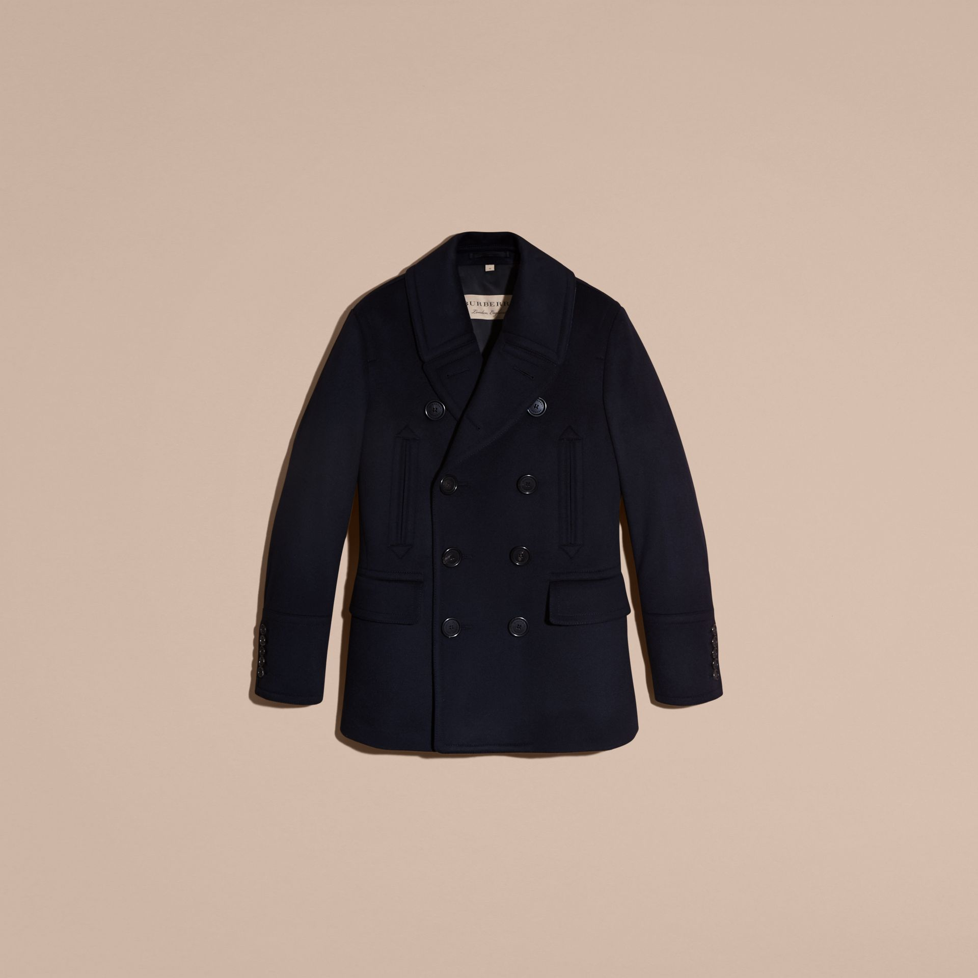 Wool Cashmere Pea Coat Navy - gallery image 4