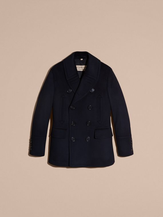 Navy Pea coat in lana e cashmere Navy - cell image 3