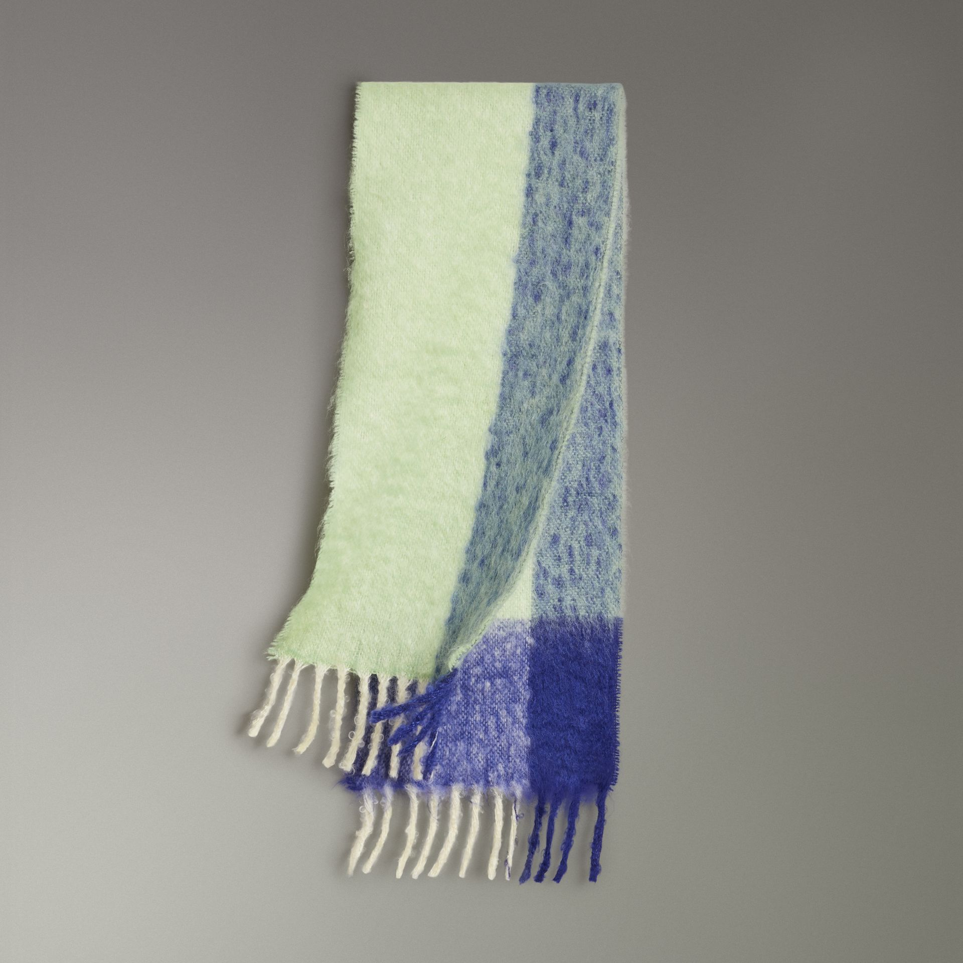 Two-tone Mohair Wool Scarf in Pistachio Green | Burberry - gallery image 0