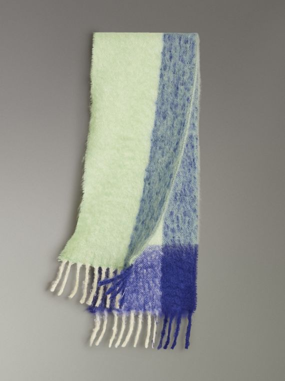 Two-tone Mohair Wool Scarf in Pistachio Green