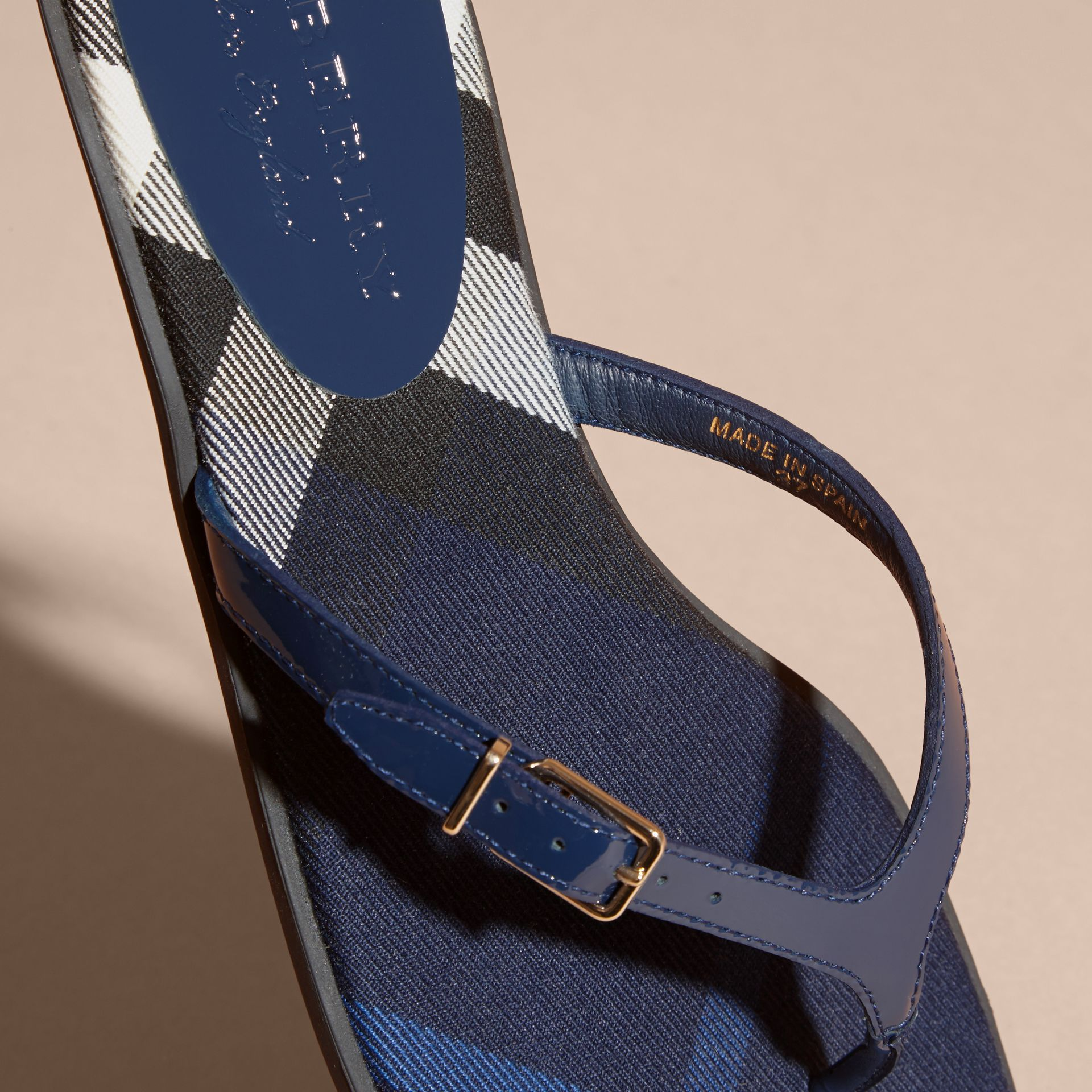 House Check and Patent Leather Sandals in Indigo Blue - Women | Burberry Singapore - gallery image 2