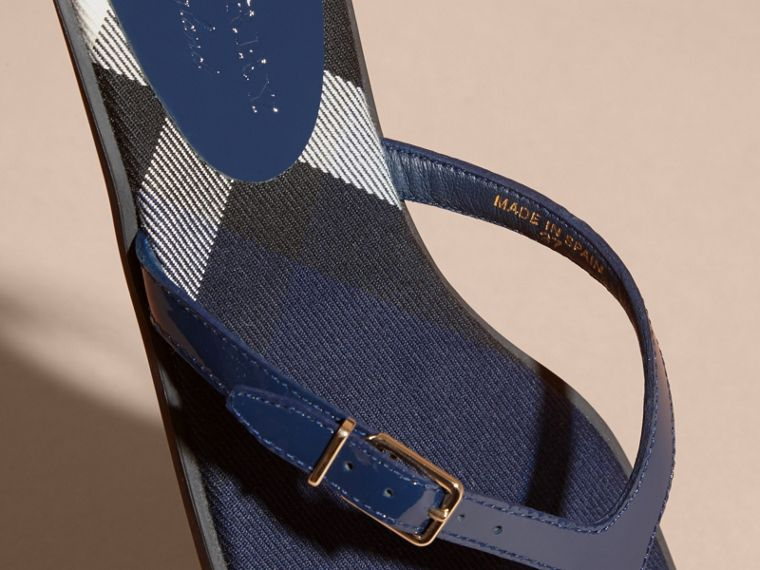 House Check and Patent Leather Sandals in Indigo Blue - Women | Burberry Singapore - cell image 1