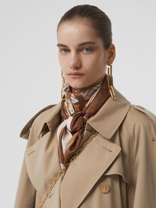 Gold-plated Link Drop Earrings in Light - Women | Burberry - cell image 2