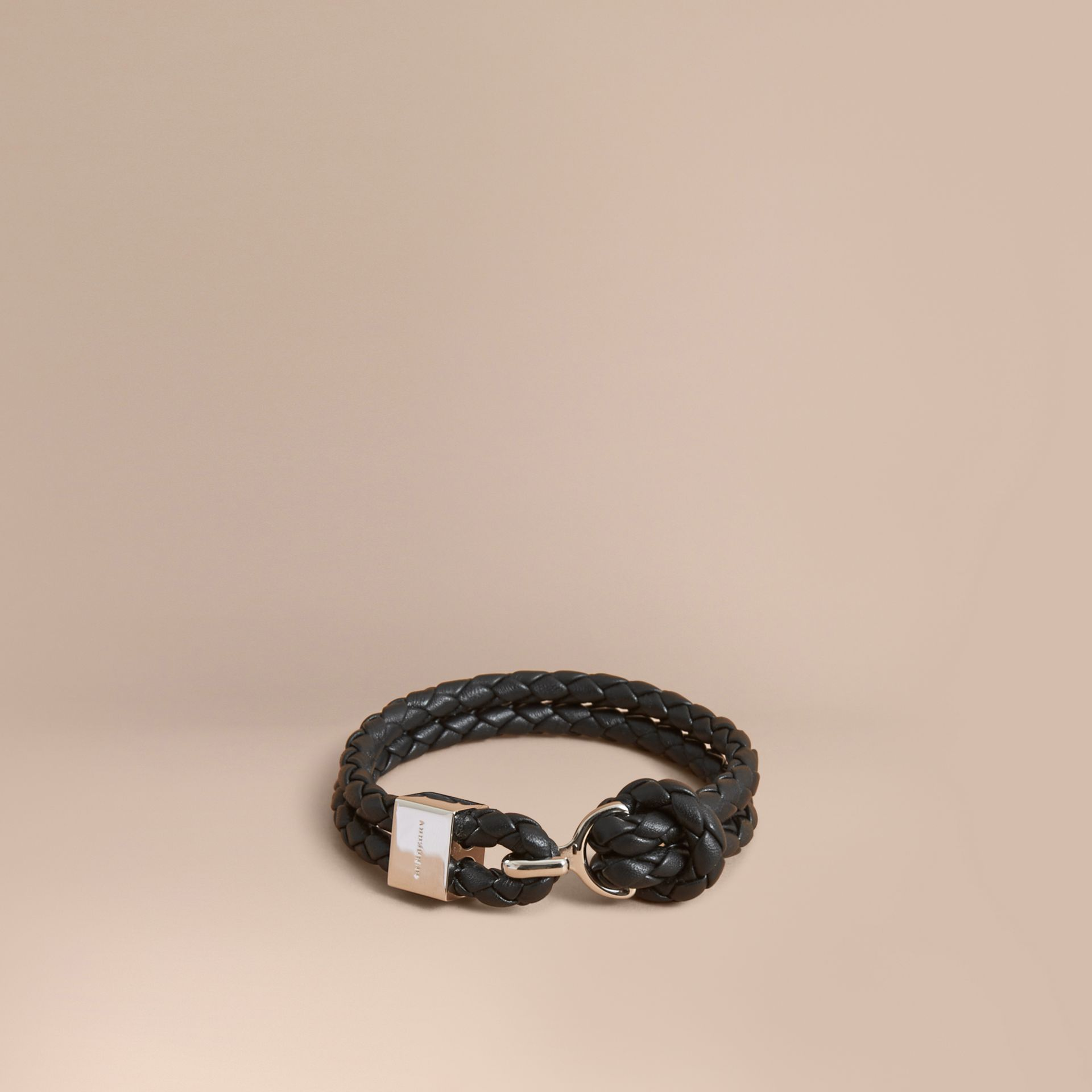 Braided Leather Bracelet Black - gallery image 1