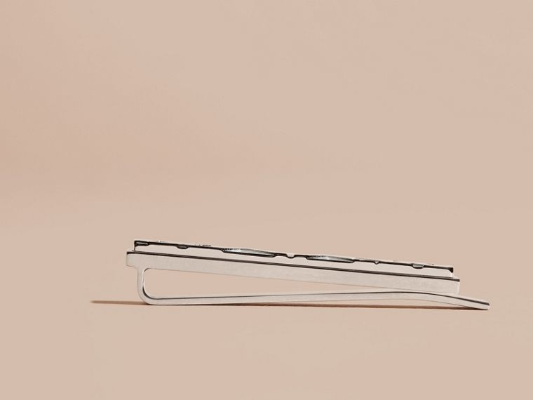 Check-engraved Tie Bar in Silver - Men | Burberry - cell image 1