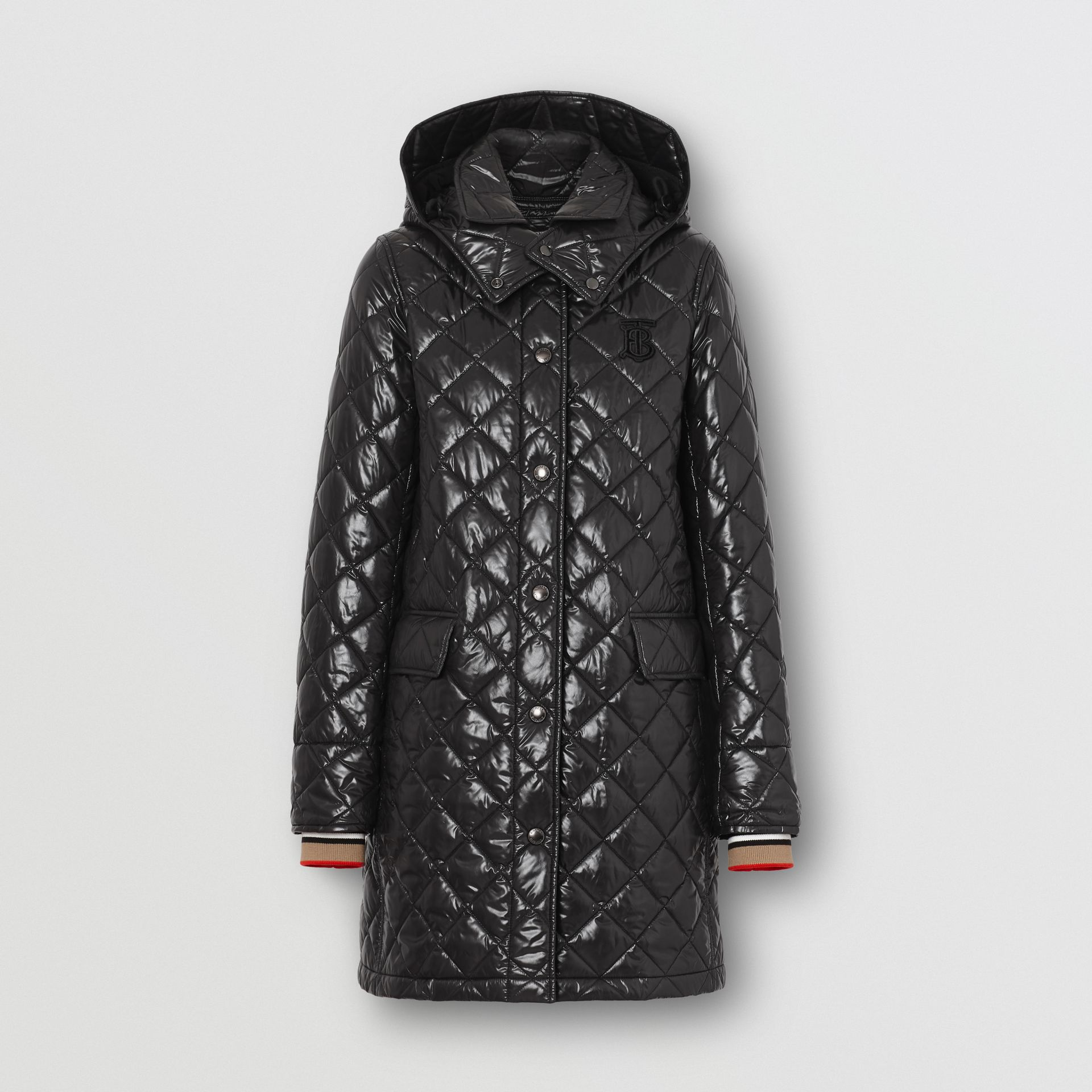 Detachable Hood Monogram Motif Quilted Coat in Black - Women | Burberry United States - gallery image 3