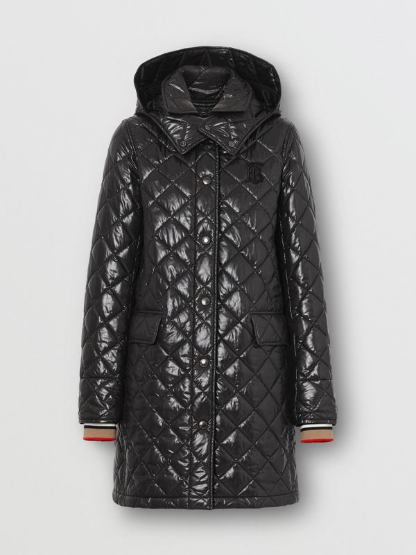 Detachable Hood Monogram Motif Quilted Coat in Black - Women | Burberry United States - cell image 3