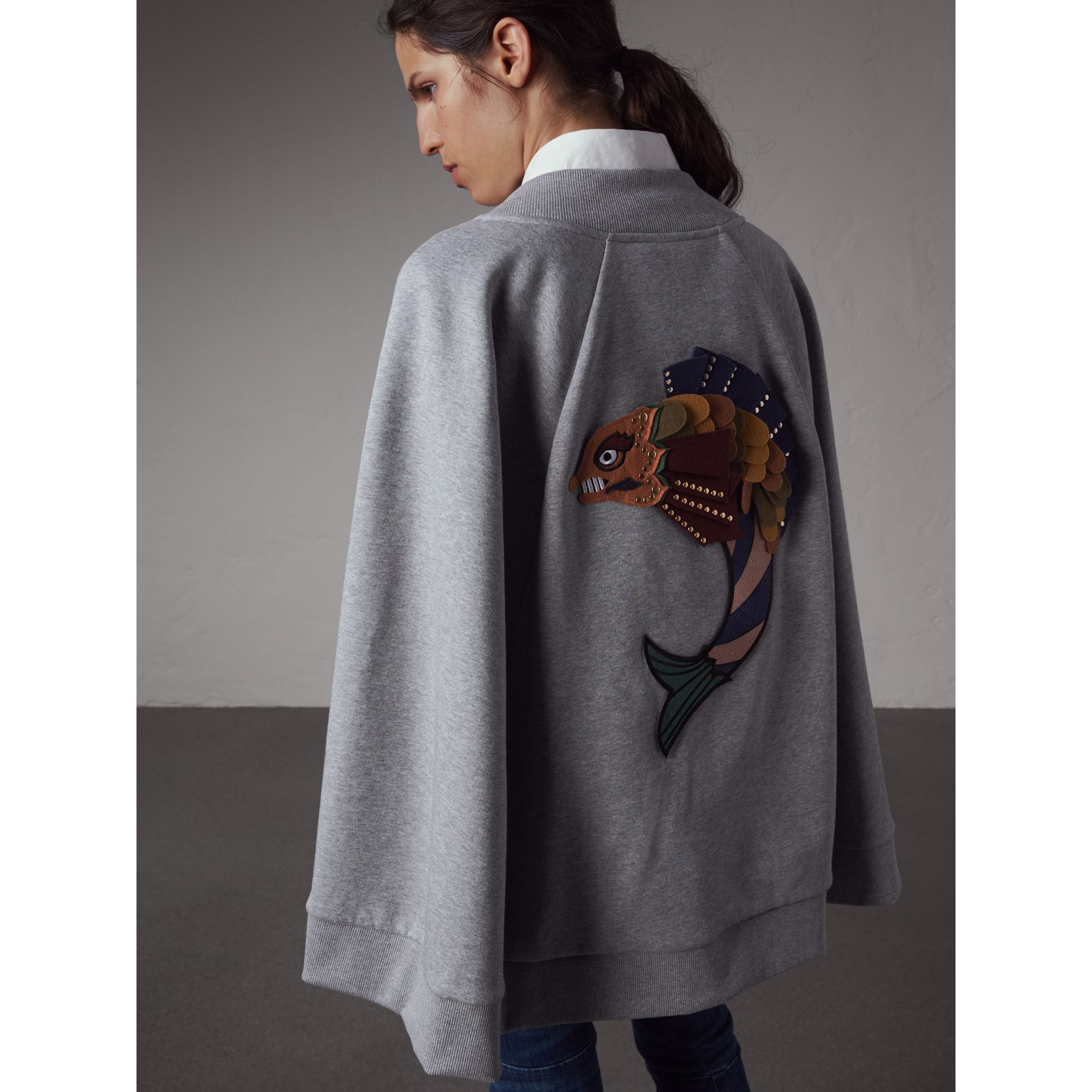 Beasts Appliqué Sweatshirt Cape in Pale Grey Melange - Women | Burberry Singapore - gallery image 3