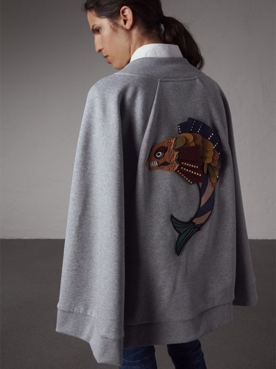 Beasts Appliqué Sweatshirt Cape in Pale Grey Melange - Women | Burberry - cell image 2