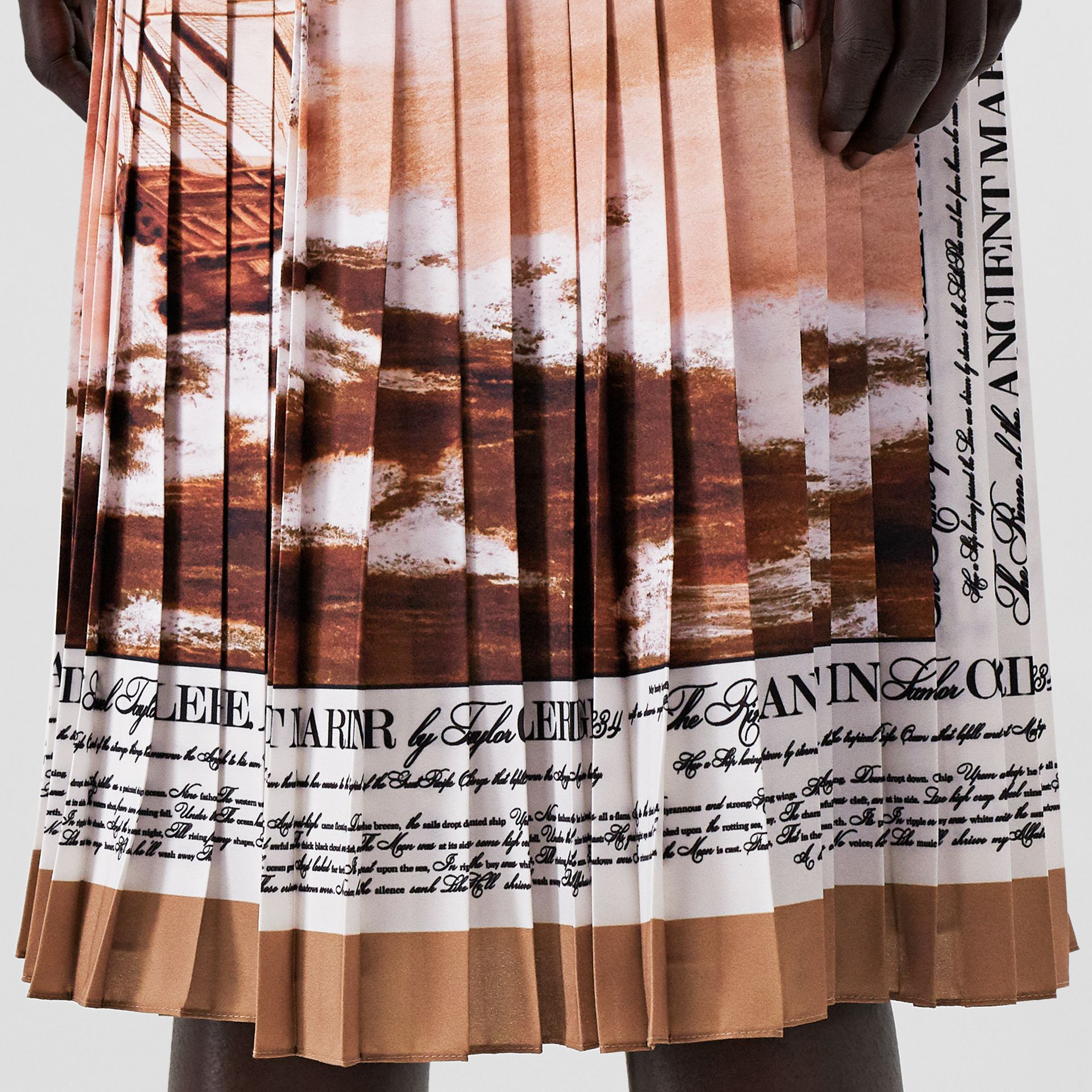Mariner Print Pleated Cady Skirt in Bronze - Women | Burberry - gallery image 5
