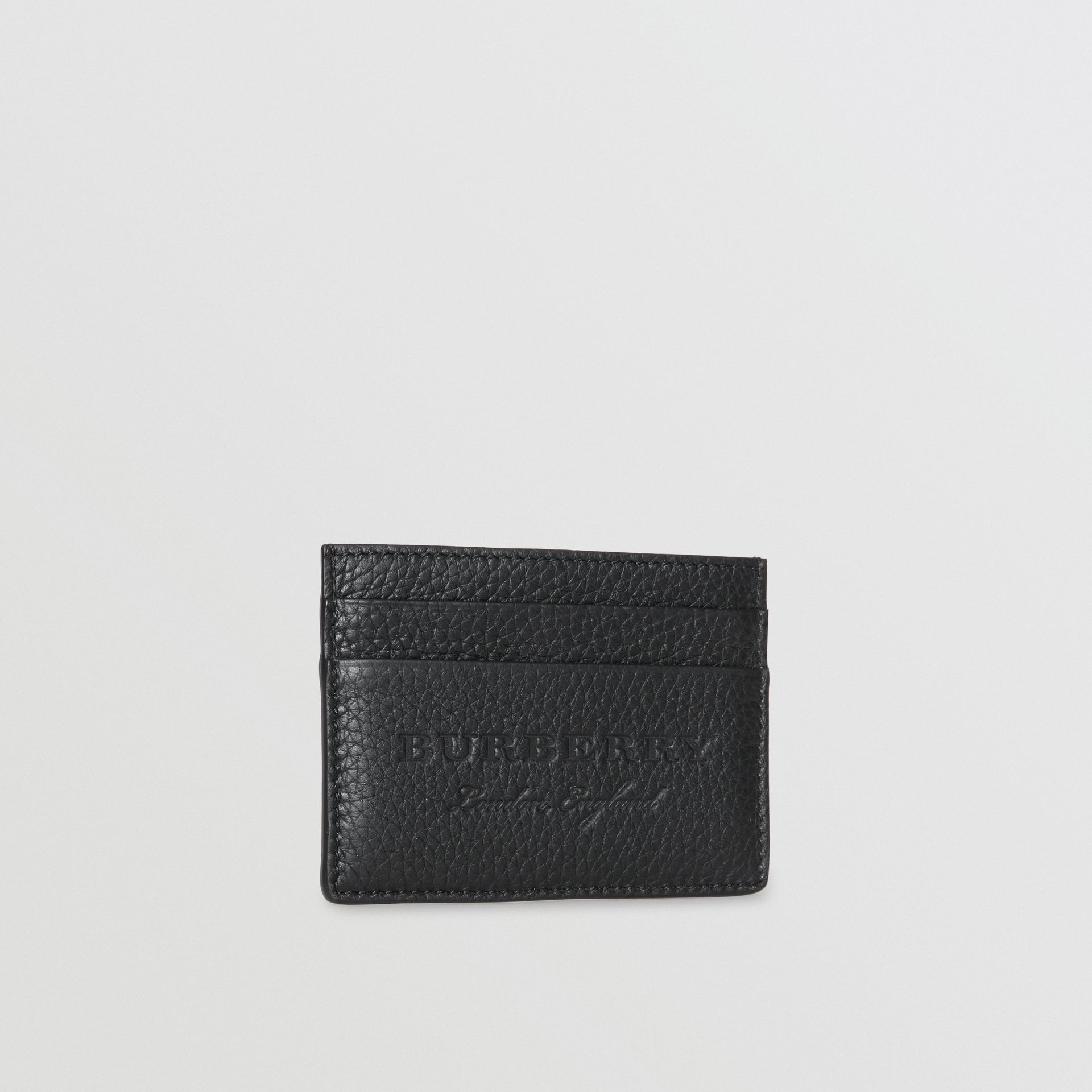 Textured Leather Card Case in Black | Burberry Singapore - gallery image 4