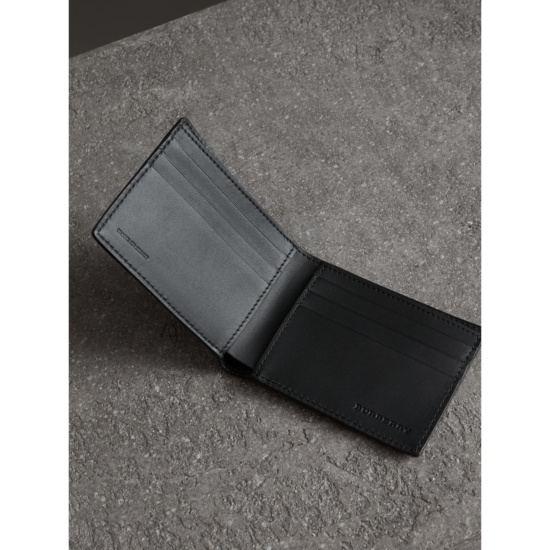 Grainy Leather Bifold Wallet in Black - Men | Burberry Canada - gallery image 3