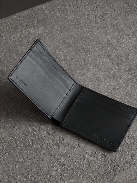 Grainy Leather Bifold Wallet in Black - Men | Burberry Canada - cell image 3