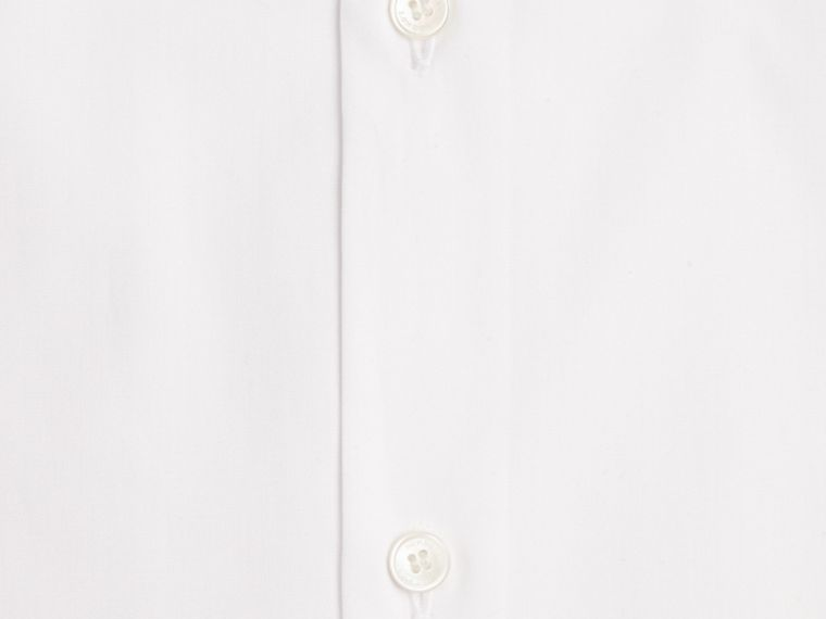 White Modern Fit Short-sleeved Cotton Poplin Shirt - cell image 1
