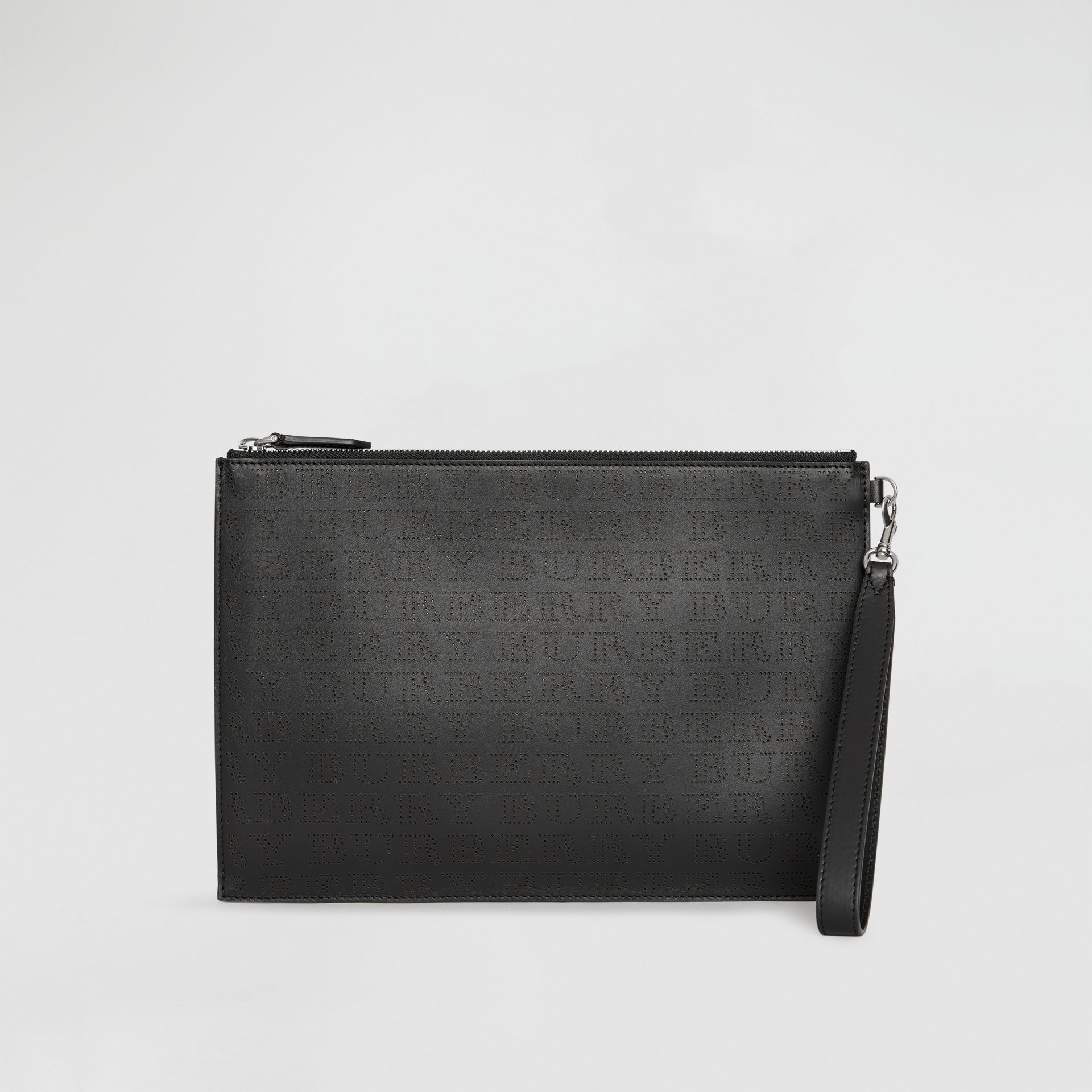 Perforated Logo Leather Zip Pouch in Black | Burberry - gallery image 2