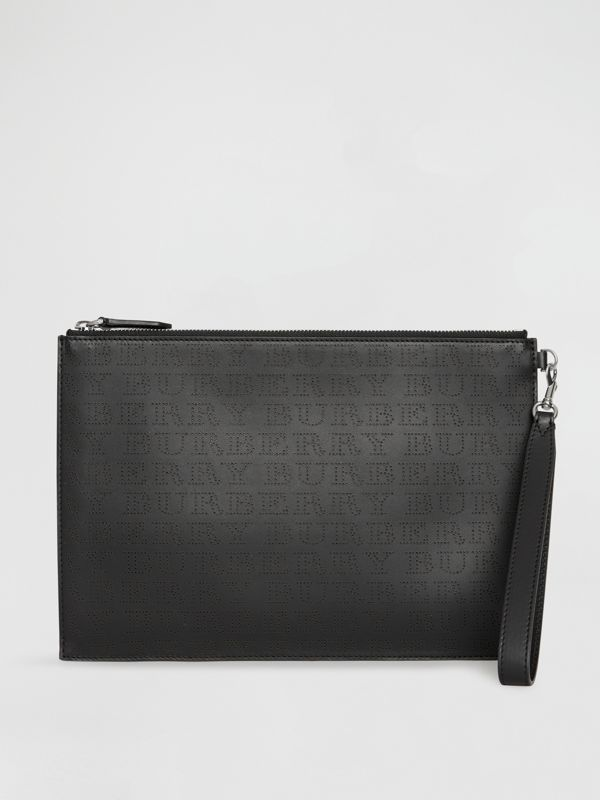 Perforated Logo Leather Zip Pouch in Black | Burberry - cell image 2