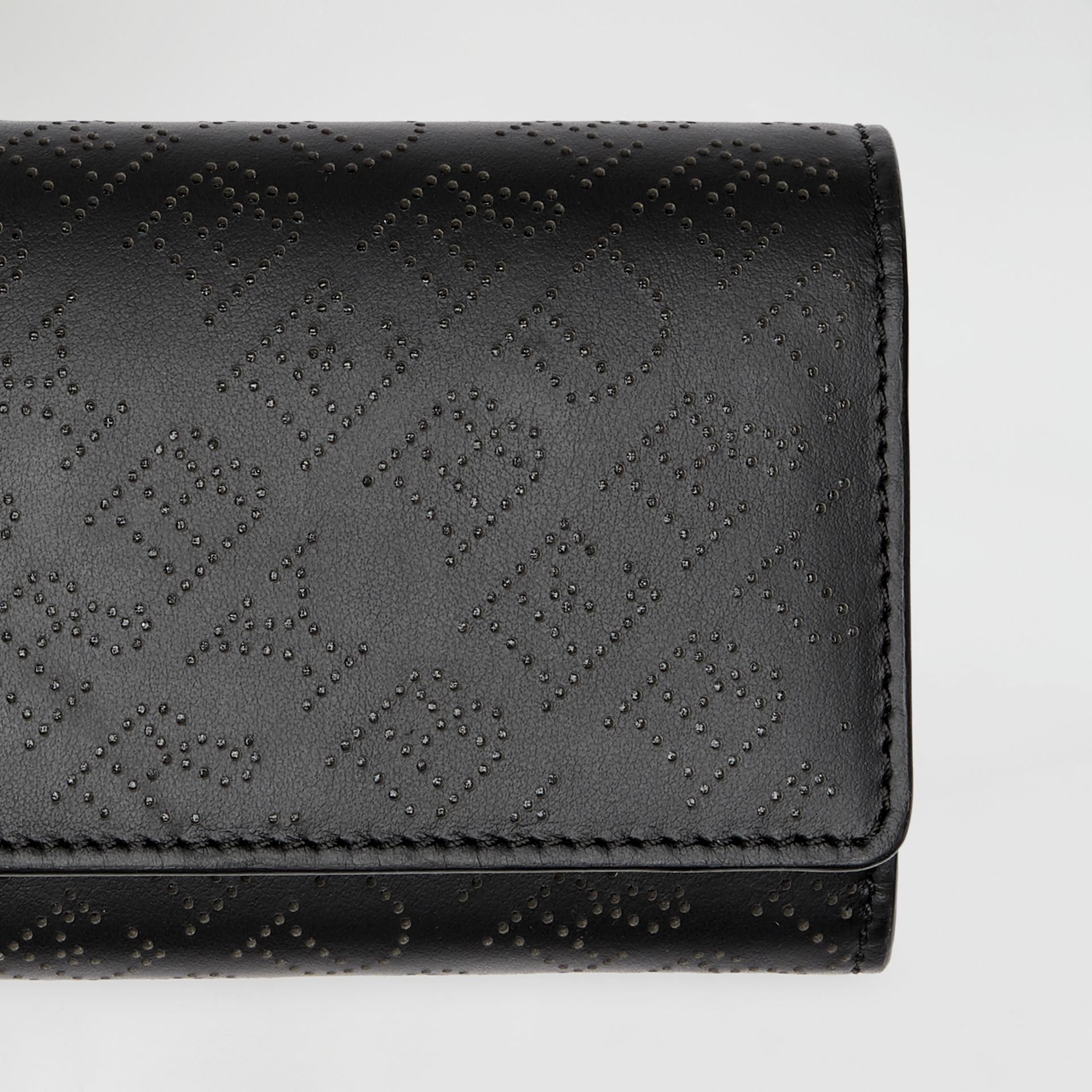 Perforated Logo Leather Continental Wallet in Black - Women | Burberry - gallery image 1