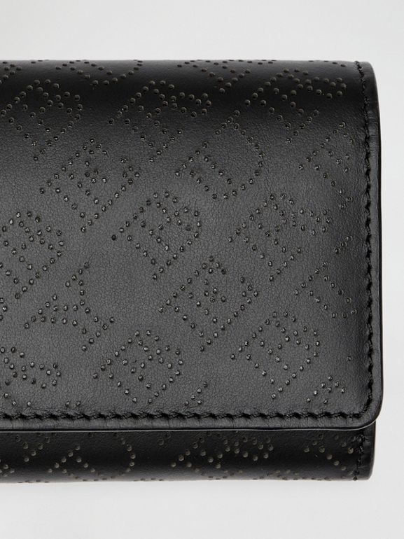 Perforated Logo Leather Continental Wallet in Black - Women | Burberry - cell image 1