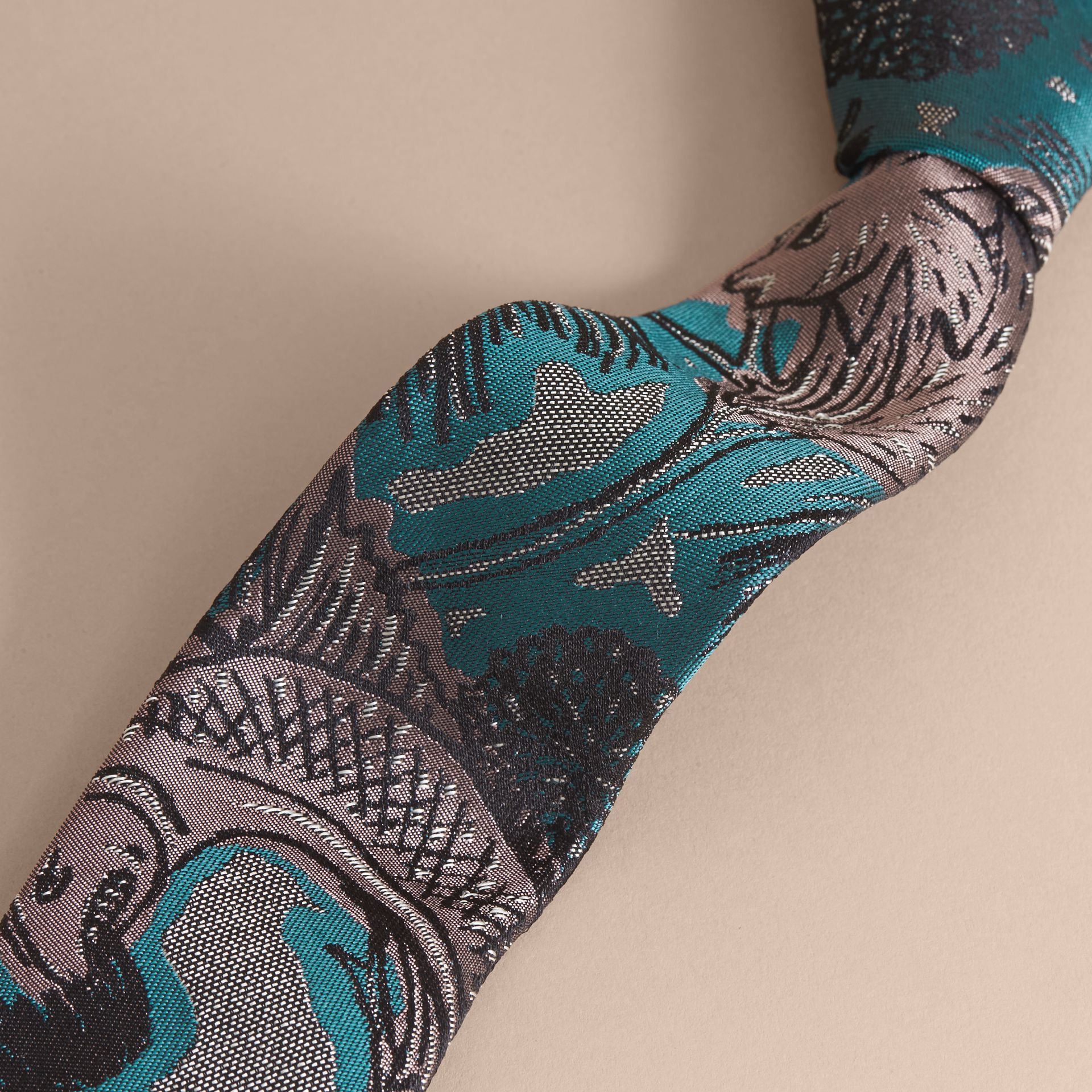 Slim Cut Beasts Jacquard Silk Tie in Mineral Blue - Men | Burberry - gallery image 1