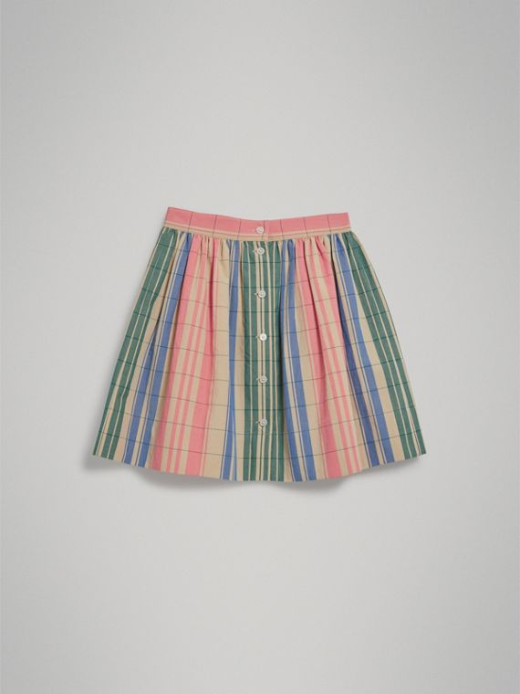Check Gathered Cotton Skirt in Bright Coral Pink - Girl | Burberry United Kingdom - cell image 3