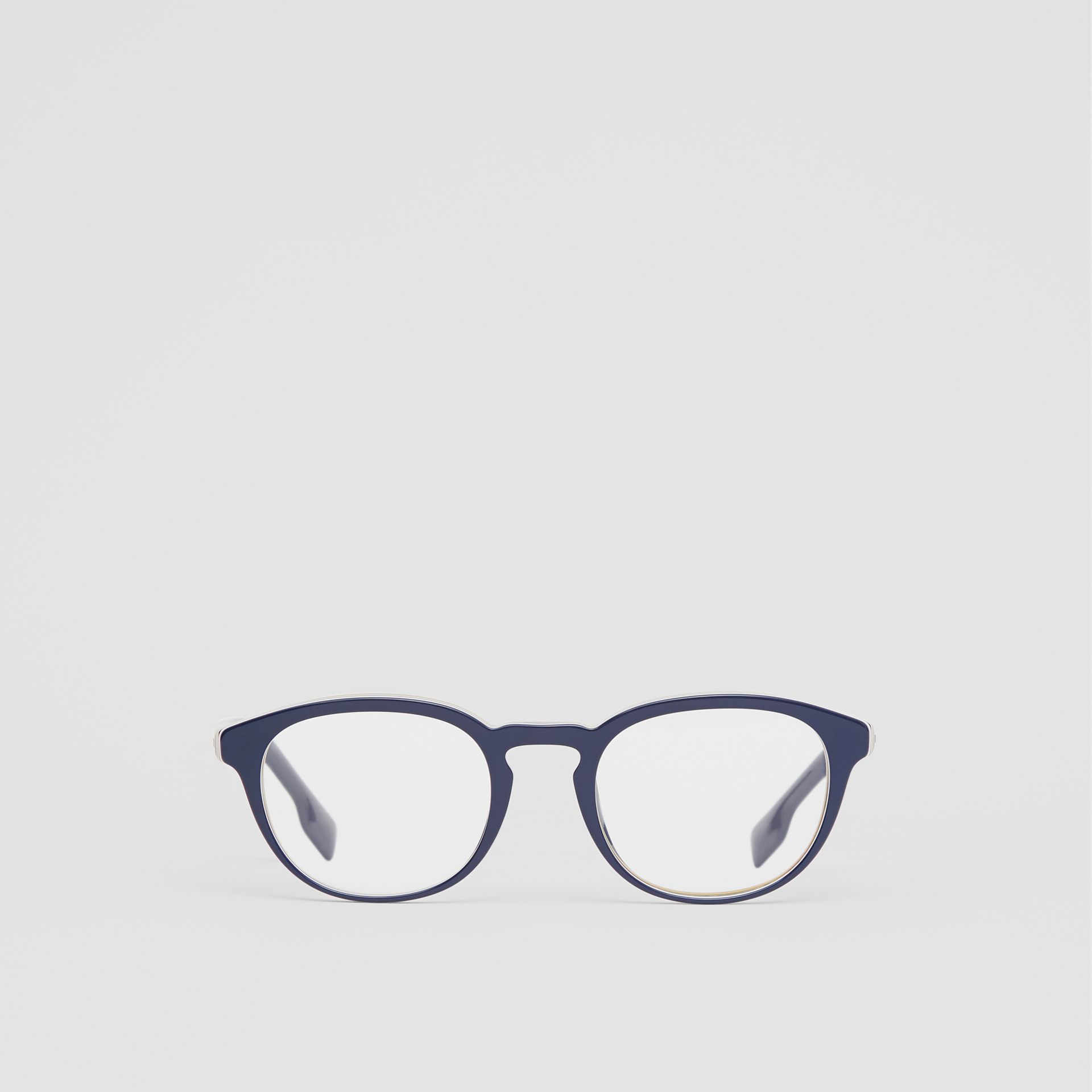Icon Stripe Detail Round Optical Frames in Blue - Men | Burberry United Kingdom - gallery image 0