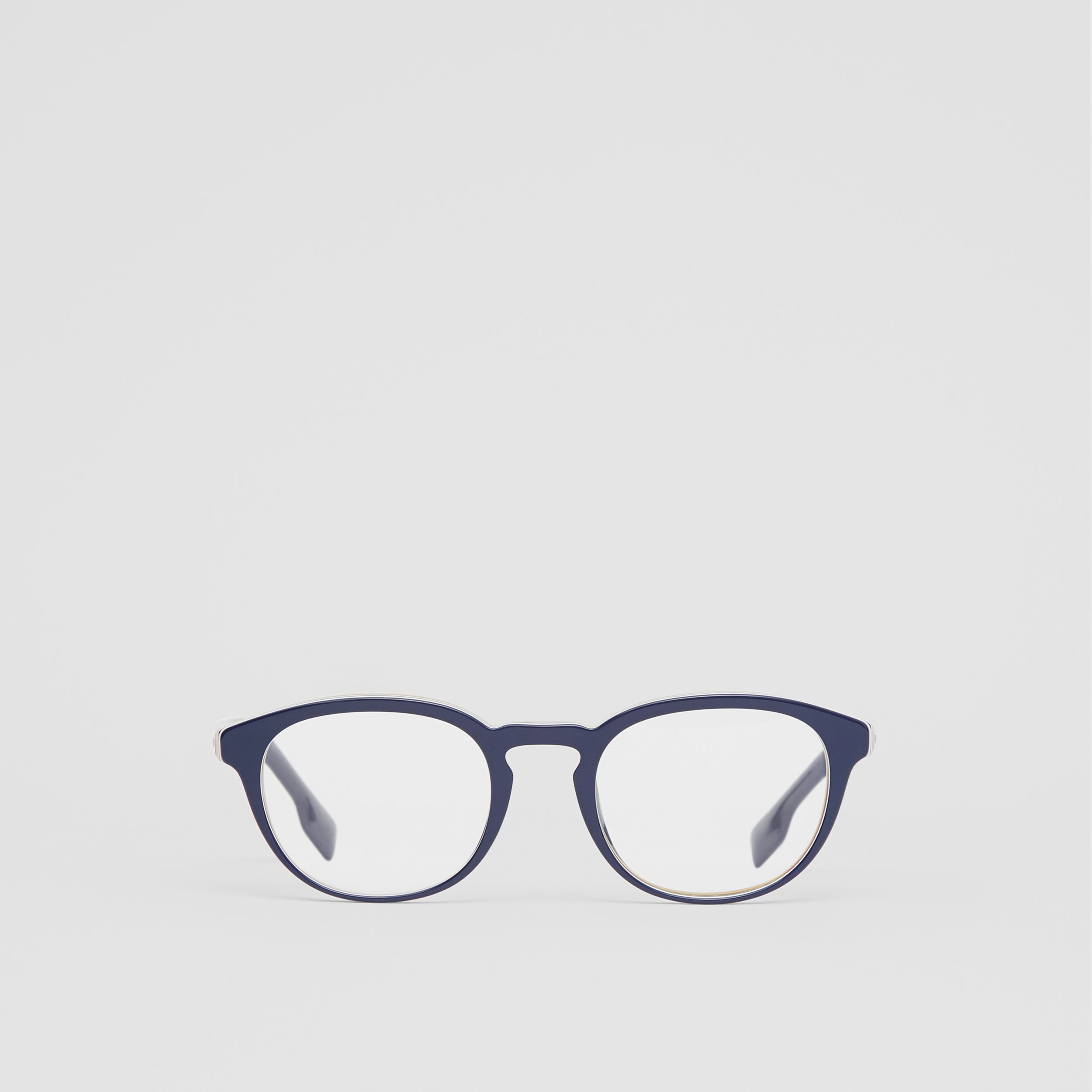 Icon Stripe Detail Round Optical Frames in Blue - Men | Burberry Canada - 1