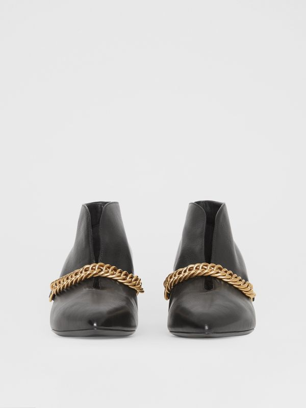 Link Detail Leather Ankle Boots in Black - Women | Burberry - cell image 3