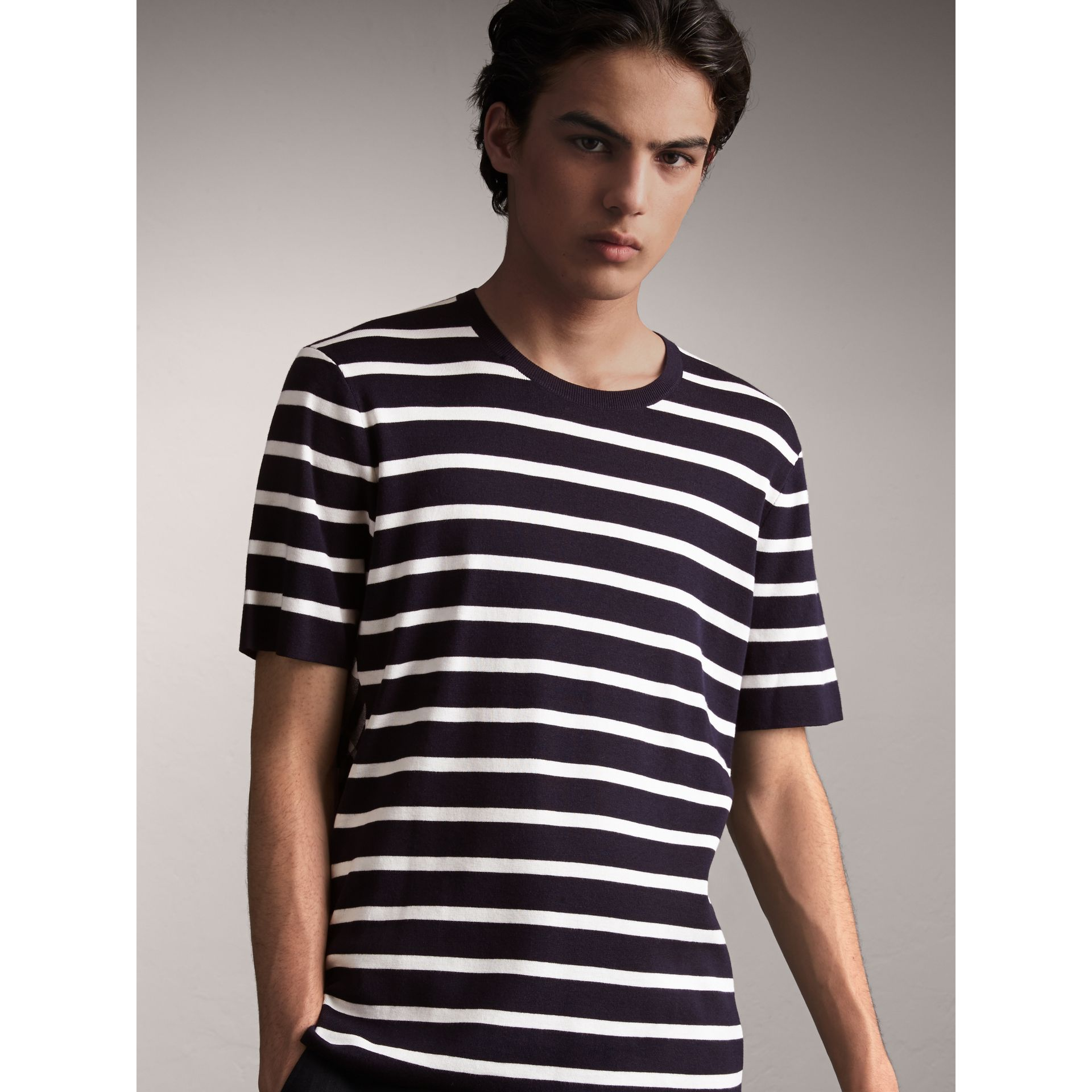 Check Detail Striped Silk Cotton T-shirt in Navy - Men | Burberry - gallery image 1