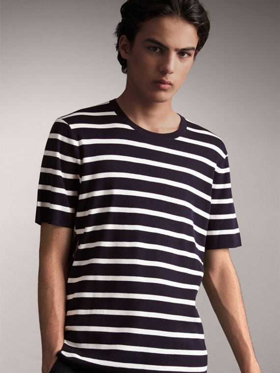 Check Detail Striped Silk Cotton T-shirt in Navy
