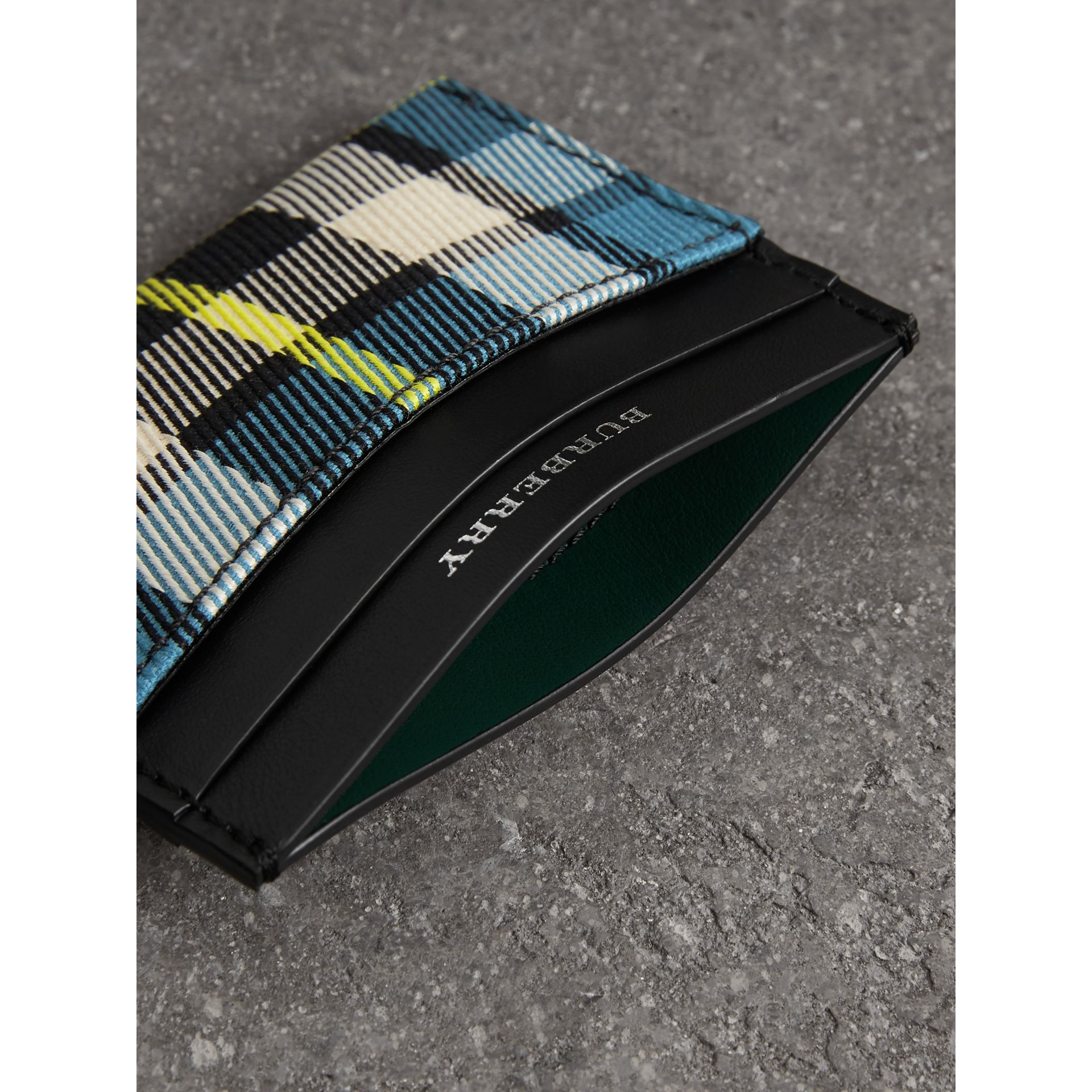 Tartan Check and Leather Card Case in Dark Blue/black | Burberry - gallery image 3