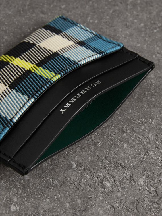 Tartan Check and Leather Card Case in Dark Blue/black | Burberry - cell image 3
