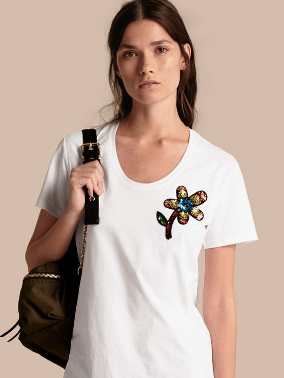 Sequin Floral Appliqué Cotton T-Shirt White