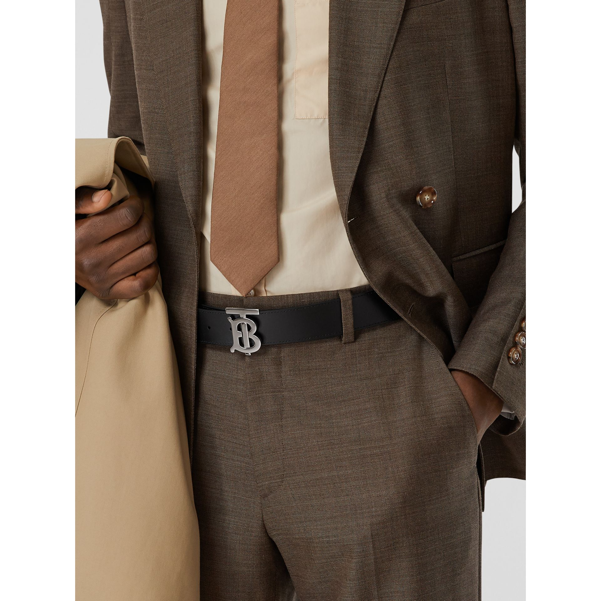 Reversible Monogram Motif Vintage Check Belt in Archive Beige - Men | Burberry - gallery image 7