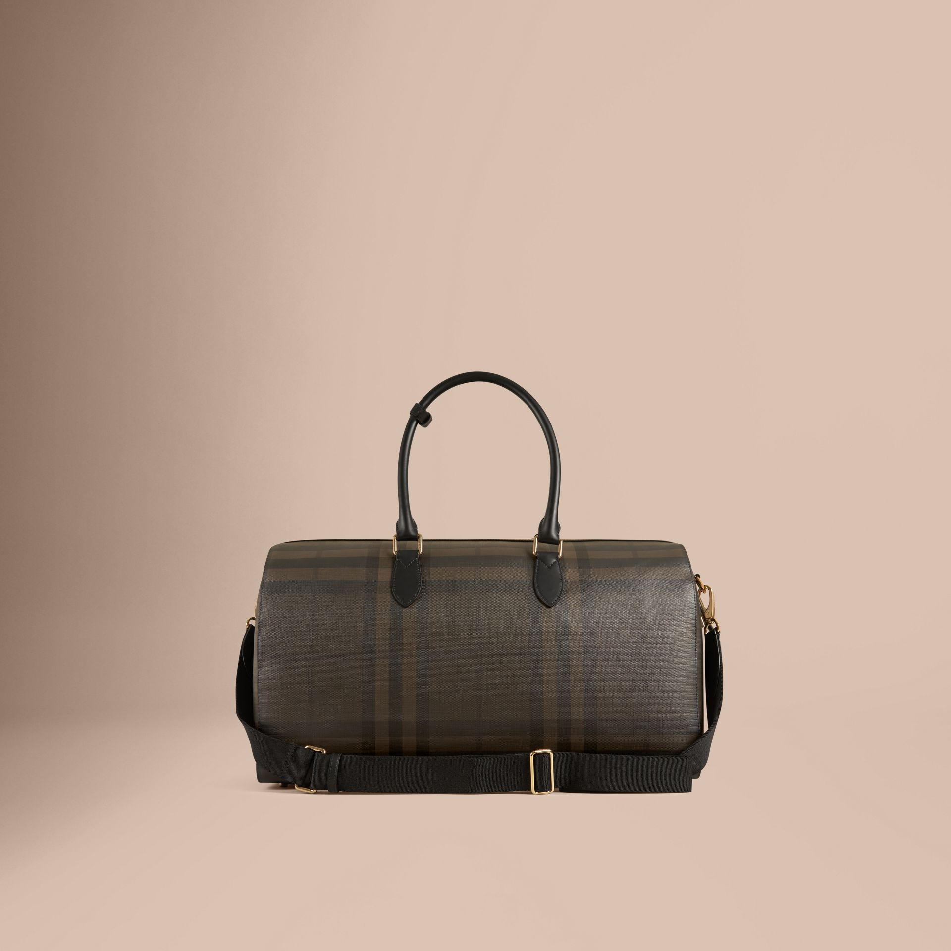 Leather Trim London Check Holdall in Chocolate/black - Men | Burberry Canada - gallery image 4