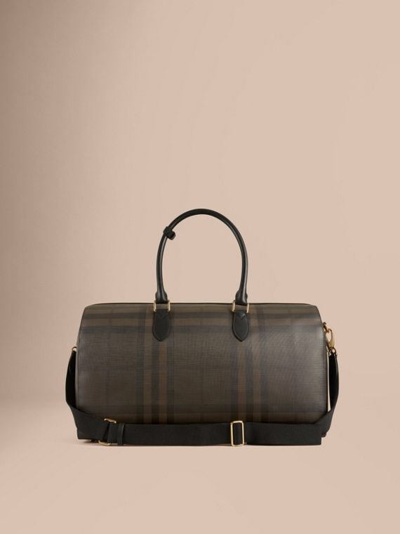Leather Trim London Check Holdall in Chocolate/black - Men | Burberry Canada - cell image 3