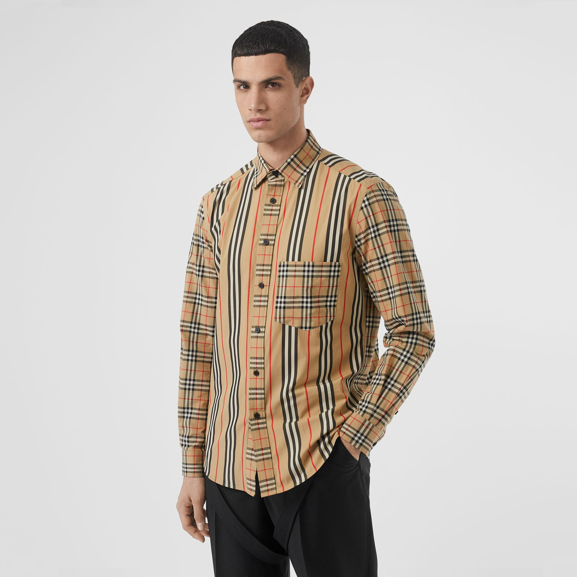 Classic Fit Patchwork Cotton Poplin Shirt in Archive Beige - Men | Burberry United Kingdom - gallery image 4