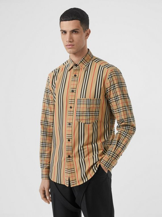 Classic Fit Patchwork Cotton Poplin Shirt in Archive Beige