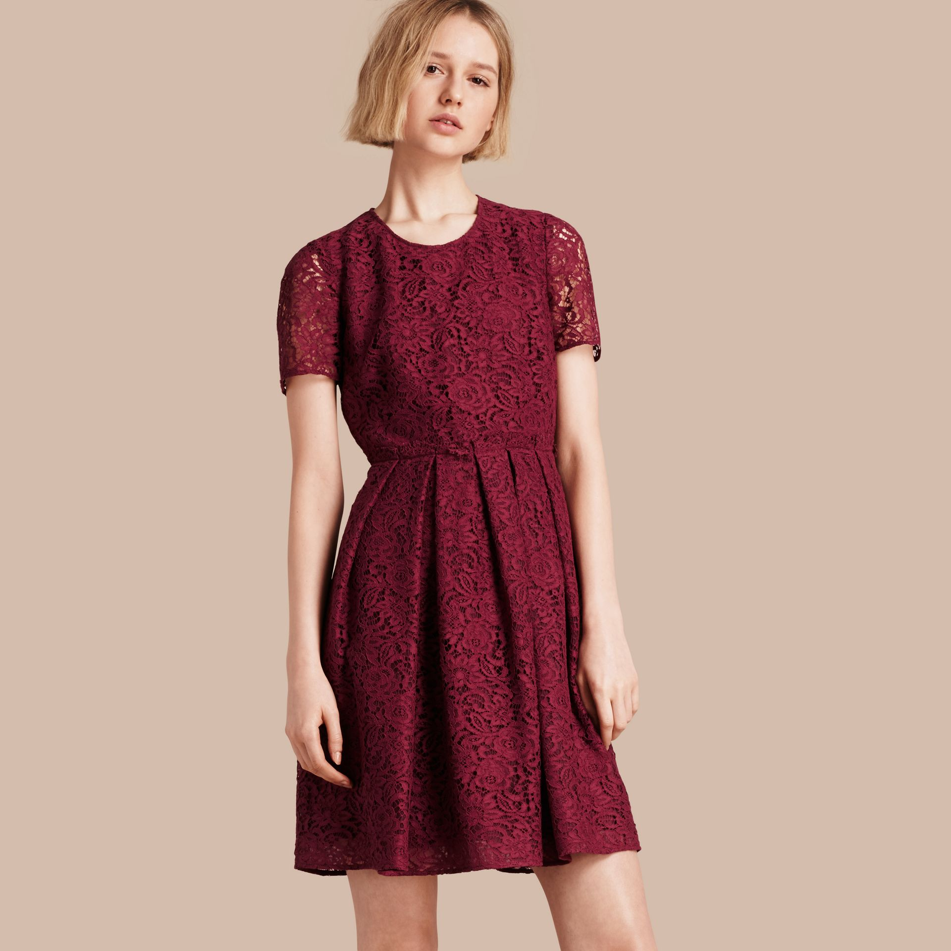 Dark crimson Italian Lace A-line Dress - gallery image 1