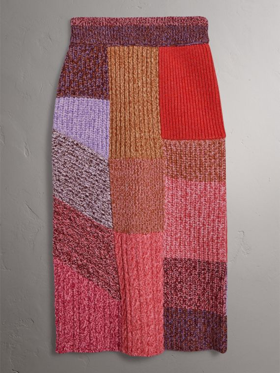 Cashmere-wool Mouliné Patchwork Skirt in Multicolour - Women | Burberry Canada - cell image 3