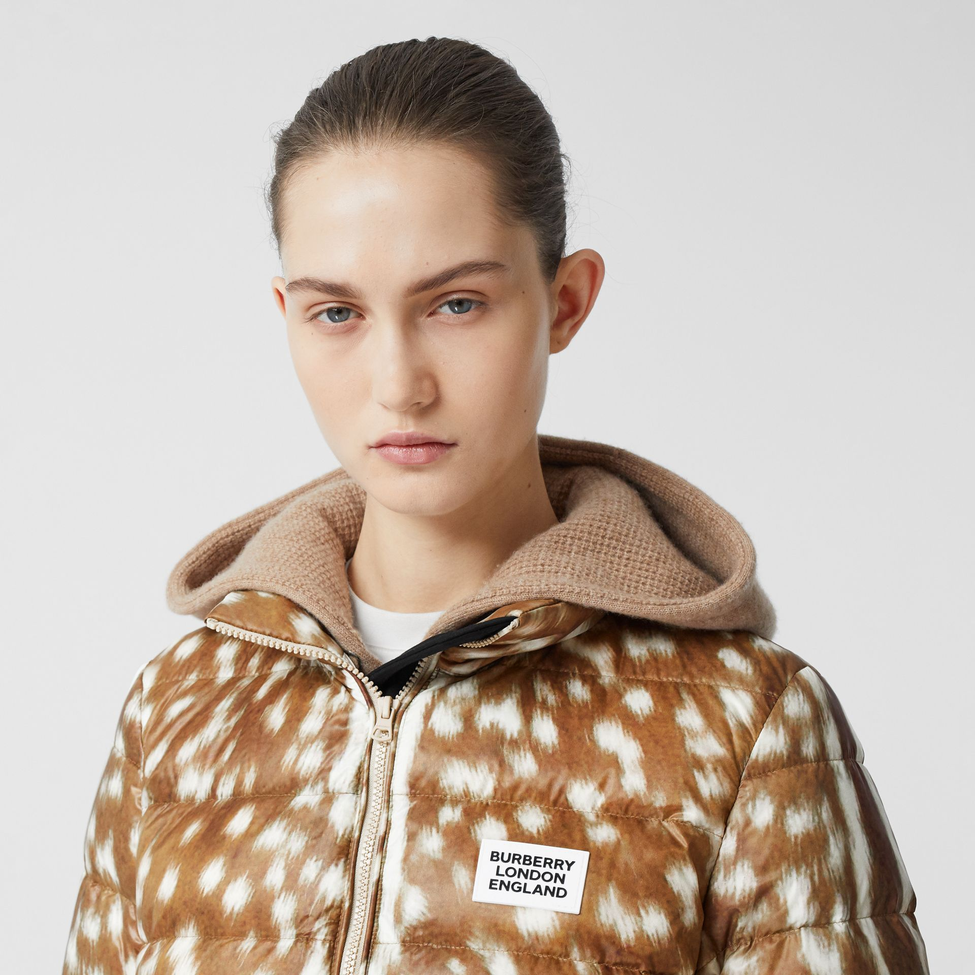 Deer Print Puffer Jacket in Honey - Women | Burberry United Kingdom - gallery image 1