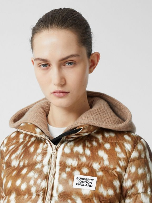 Deer Print Puffer Jacket in Honey - Women | Burberry United Kingdom - cell image 1
