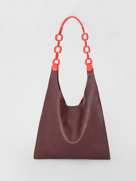 Sac shopper moyen en cuir bicolore (Bordeaux Intense)