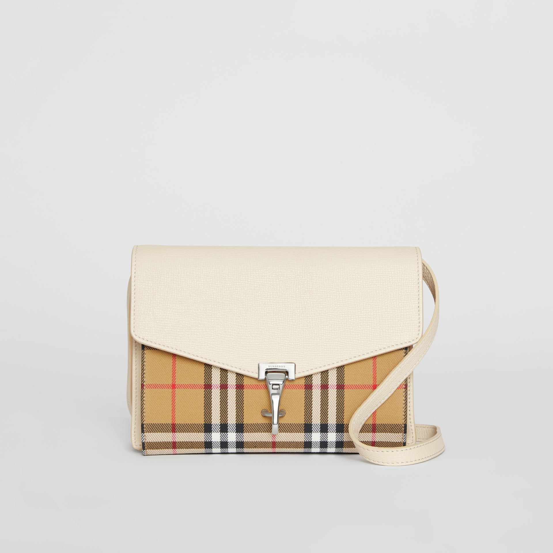 Small Vintage Check and Leather Crossbody Bag in Limestone - Women | Burberry - gallery image 0