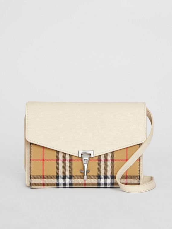 Small Vintage Check and Leather Crossbody Bag in Limestone