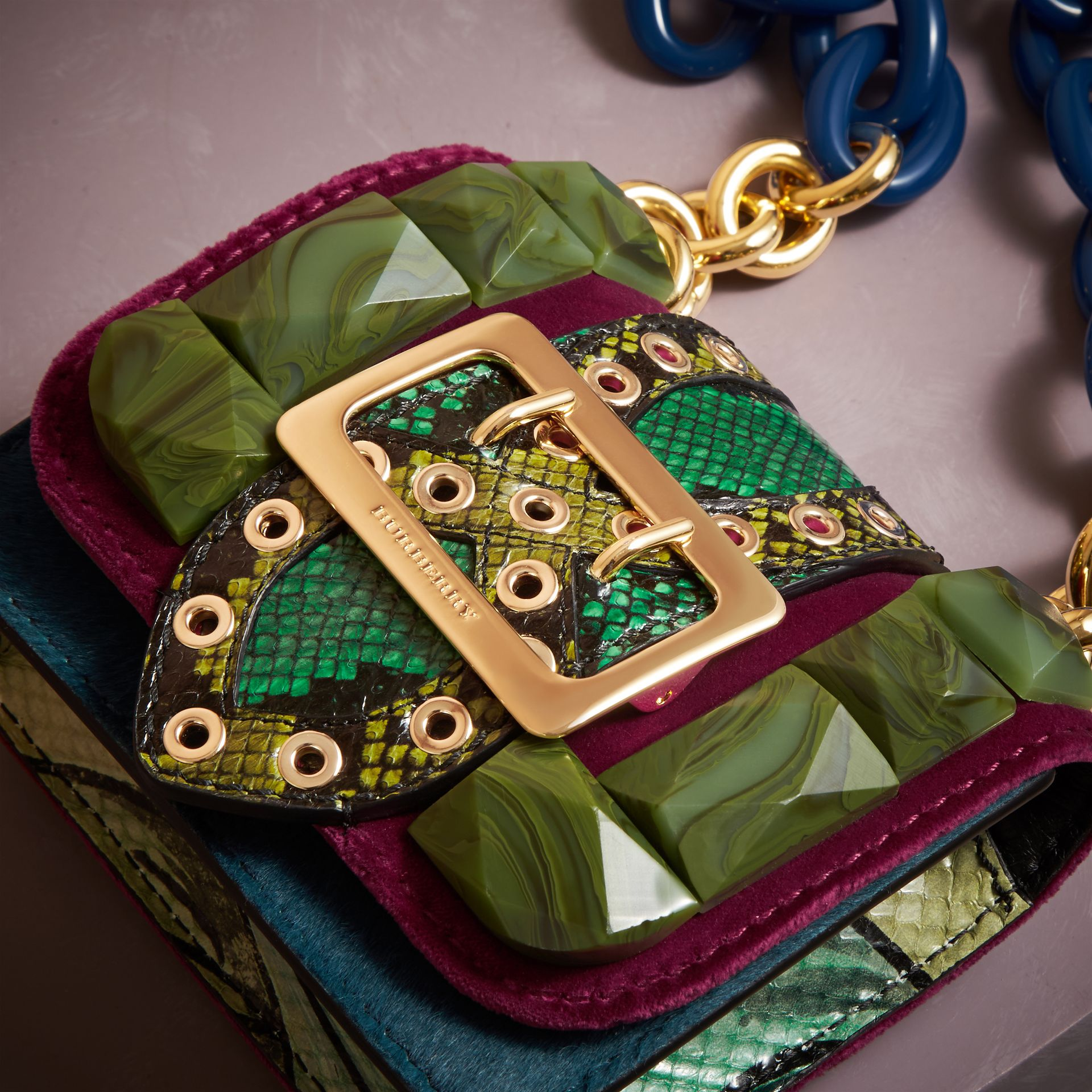 The Mini Square Buckle Bag in Calfskin, Snakeskin and Velvet - gallery image 6