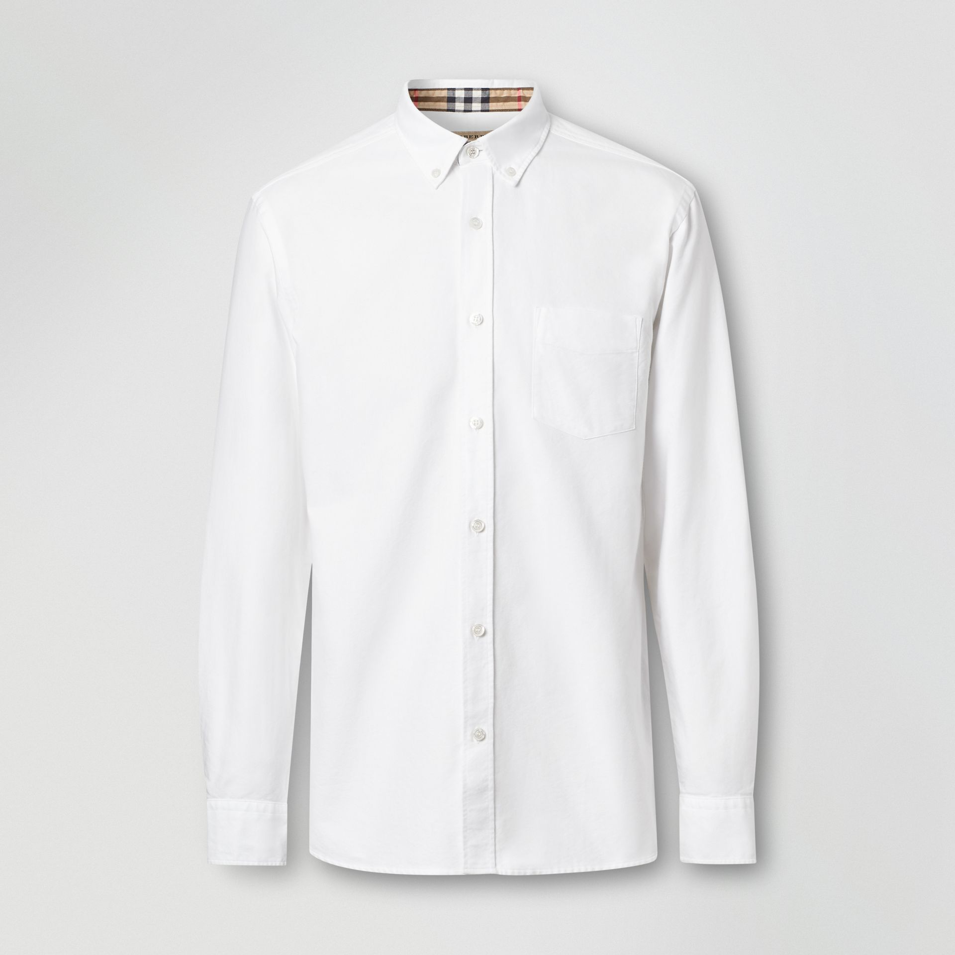 Button-down Collar Cotton Oxford Shirt in White - Men | Burberry United Kingdom - gallery image 3