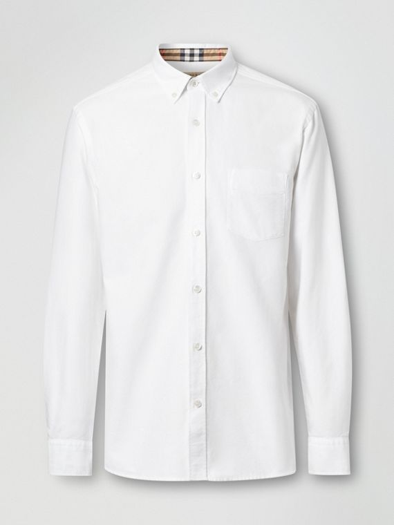 Button-down Collar Cotton Oxford Shirt in White