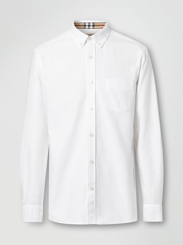 Button-down Collar Cotton Oxford Shirt in White - Men | Burberry United Kingdom - cell image 3