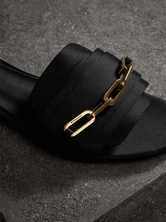 Link Detail Satin and Leather Slides in Black - Women | Burberry - cell image 1