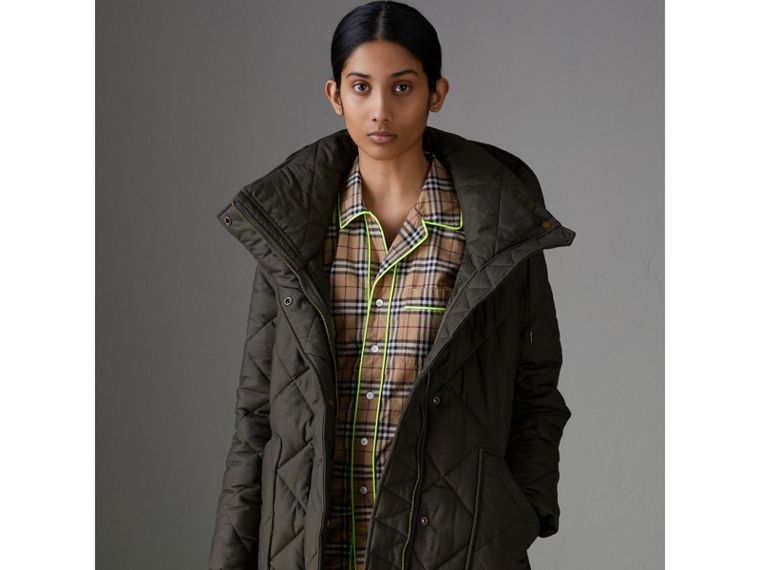 Detachable Hood Quilted Oversized Jacket in Olive - Women | Burberry - cell image 4
